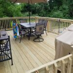 Here is a Deck where we kept the old frame and brought it up to code. We made it structurally sound and level then installed new Decking Rails and Steps in Newton, NJ.