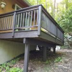 New Deck boards & Steps installed, frame and railing repairs made with Olympic Elite solid Stain applied. Color = Wenge in Blairstown, NJ.