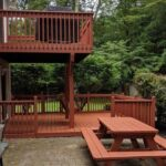 A couple more Decks brought back to life with Pressure washing then Olympic Elite solid stain applied. Color = California Rustic in Stanhope, NJ.