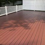 Here is a wood Deck with RDI railing that we built earlier this year, now ready for Stain. Stain Color = Royal Mahogany & White in Flanders, NJ.