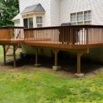 Multiple Deck repairs made Pressure Washed with Olympic Elite solid stain applied. Color = Timberline in Sparta, NJ.