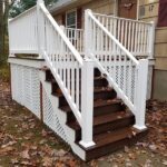 Out with the old and in with new Trex Transcend Decking in Lava Rock with RDI Endurance Railings in Oak Ridge, NJ.