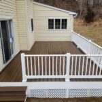 Taking advantage of the weather building this new Trex Transcend Deck in Spiced Rum with RDI Endurance Railings in Blairstown, NJ.