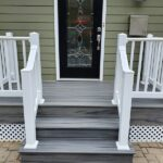 Before & After of this new Trex Transcend Porch in Island Mist with white RDI Endurance Railings in Sparta, NJ.