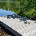 Ready for fishing. A new Trex Transcend Dock in Island Mist on Panther Lake in Andover, NJ.