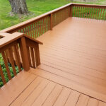 Repairs made to the frame. Bad Decking removed & replaced. Pressure washed with Olympic Stain applied to this Deck. Color = Timberline in Fredon, NJ.