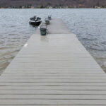 Dock repairs made with new Trex Transcend Gravel Path Decking installed at Beach6 on Lake Mohawk in Sparta, NJ.