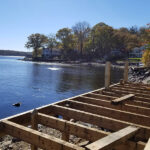 Dock repairs while the lake is down in Hopatcong, NJ.