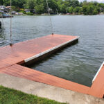 Dock Repairs made Pressure Washed with Olympic Stain in Rusted Ore applied in Lake Hopatcong, NJ.