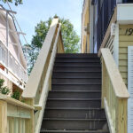 New Trex Transcend Decking on this Porch & Steps in Spiced Rum with PT Wood Railings in Lake Hopatcong, NJ.