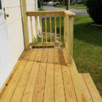 Repairs made to the Decking, Railings and Steps with Olympic Elite solid stain applied. Color = Off White in Lebanon, NJ.