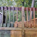 New Railing top caps installed, some Decking replaced, and Olympic Stain in Timberline applied in Byram, NJ.