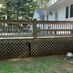 Deck Repairs made. Pressure Washed. New Lattice installed with solid Olympic Stain applied in Flint in Hackettstown, NJ.