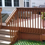 Pressure Washed, new Steps Built, Railing Repairs made with Olympic Stain in Royal Mahogany applied in Lake Hopatcong, NJ.