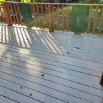 Attempting to gain a few more years on this classic Deck & Balcony set up in Lake Mohawk. Pressure Washed and lots of Repairs made with fresh Olympic Elite solid stain in Rustic Cedar applied in Sparta, NJ.